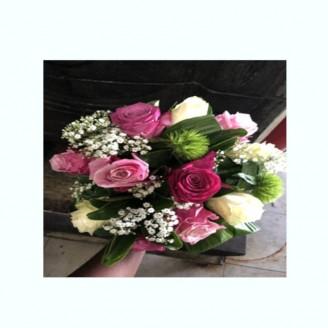 Bouquet 9 roses roses dégradée